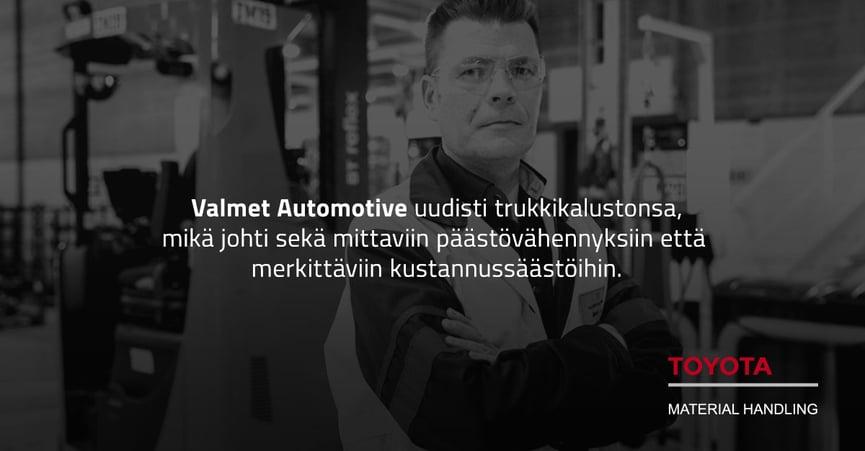 Kuvituskuva - Valmet Automotive uudisti trukkikalustonsa, mikä johti sekä mittaviin päästövähennyksiin että merkittäviin kustannussäästöihin.